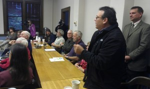 Bad River Tribal Chair speaks out at Ashland County Mining Impact Committee meeting. Photo: Barbara With