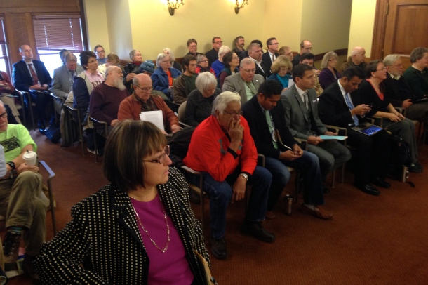 SB 349 co-author Rep. Joan Ballweg waits for the hearing to begin. Photo by Rebecca Kemble