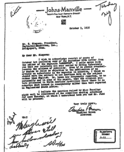 "Copy of Johns-Manville's response to Raysbestos-Manhattan, dated October 3, 1935 stating that their interests are best served by having asbestosis receive the ""minimum of publicity."" Document courtesy Jill Kakauski."