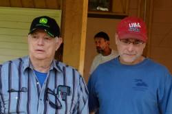 Ashland County Board Chair Pete Russo and Board Supervisor Charles Ortman at a press conference July 10, 2013 after GTac was caught employing a paramilitary militia in Arizona to patrol their drill sites in the Penokee Hills. Photo: Rebecca Kemble
