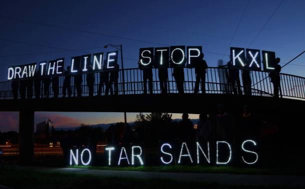 September 20, 2013 Draw the Line-Stop KXL with Overpass Light Brigade