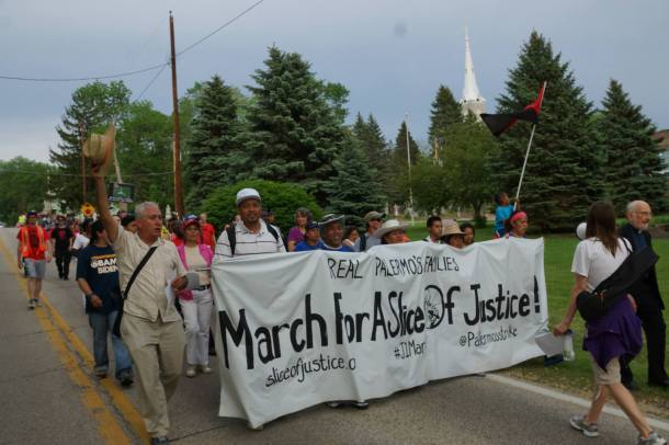 June 1, 2013 Walk for a Slice of Justice in Milwaukee where displaced Palermo's pizza workers walked over 18 miles from the factory to the owner's home in Mequon to ask for a meeting to negotiate an end to their labor dispute.