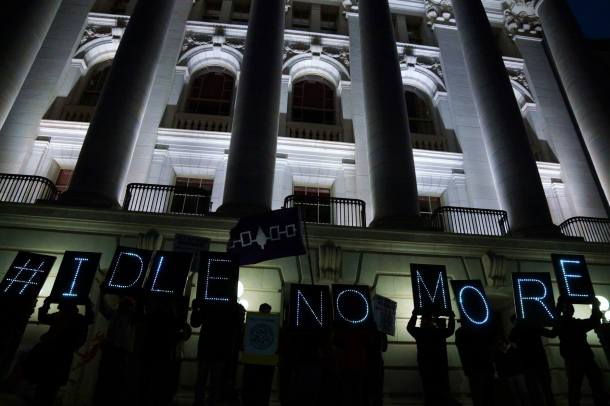 January 13, 2013 #IDLE NO MORE at WI Capitol with Overpass Light Brigade