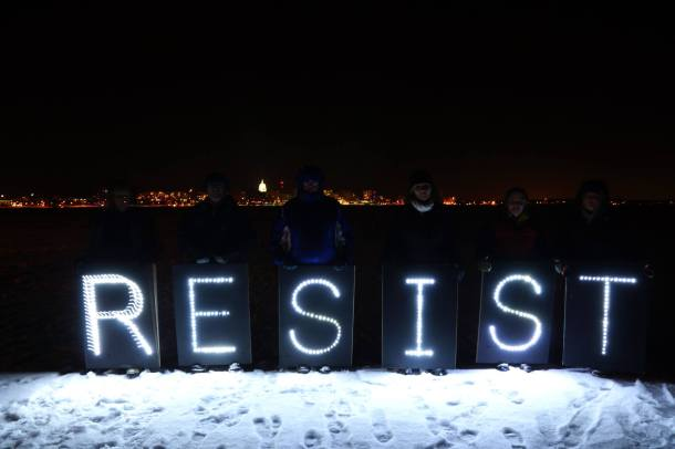 December 28, 2013 RESIST with Overpass Light Brigade on Lake Mendota.