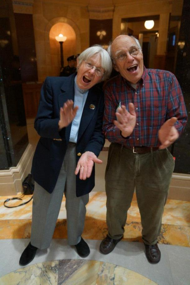 April 30, 2013 Joan and Tom Kemble sing at Solidarity Sing Along.  Both octogenarians would be arrested for this very activity later in the year.