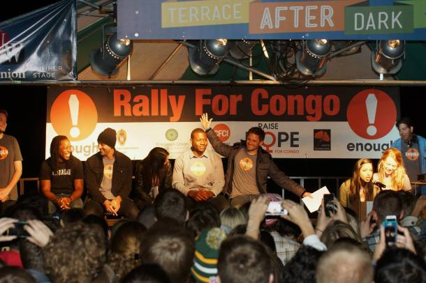 October 7, 2013 Rally for a Conflict-Free Congo with event organizer JD Stier and GB Packers quarterback Aaron Rodgers, making a well received political statement.