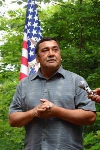 Lac Courte Oreilles Vice-Chairman Rusty Barber speaking at a press conference from HELP, July 30, 2013. Photo: Rebecca Kemble