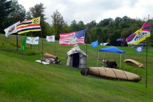 Tribal flags flying at the Penokee Hills Education Summit September 20, 2013.