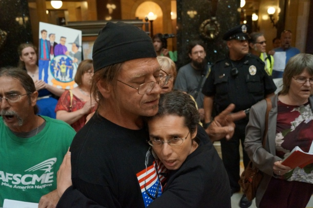 July 30, 2013 Protecting Will from yet another arrest for singing without a permit in the rotunda of the WI Capitol.