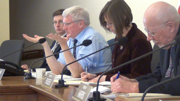 Sen. Glenn Grothman has his feet held to the fire during public testimony.