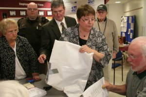 Duct taped ballot bag at the May 2011 Supreme Court Recount in Waukesha.