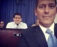 Rep; Sean Duffy talking a selfie with Rep. Paul Ryan, both Tea Party Republicans and part of the effort to shut down the government last year.
