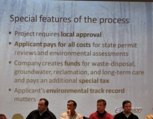 What the public was told at the January 2011 mining presentation at the Northern Great Lakes Visitor Center. Later, GTac never obtain local approval and changed the law so that they would not have to pay a special tax, be responsible for reclamation or have previous environmental track record matter. Photo: Eric Iverson.
