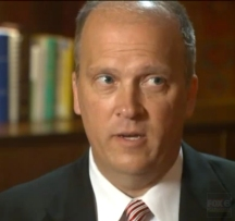 Brad Schimel looking towards the door during an interview with Fox News 6. Schimel refused to answers questions about his failure to investigate Joe Kleefisch.