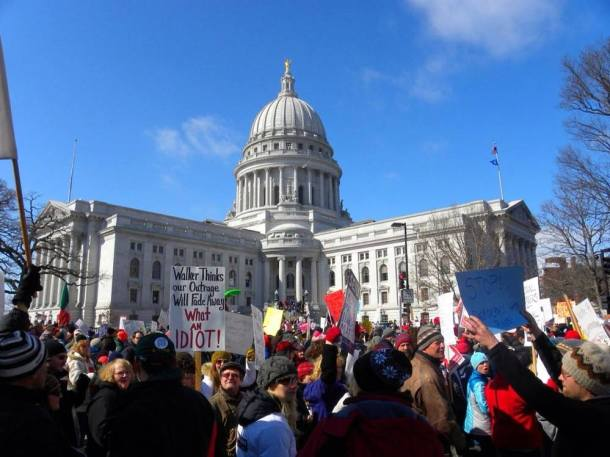 Wisconsin citizens peacefully exercising First Amendment rights, February 2011. Photo: Michael Matheson