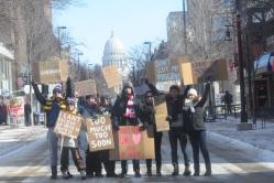 UW students protest budget.