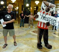 Bucky imitator attends the Solidarity Sing Along in September 2013. Photo by Erica Case.