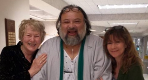 Bad River Tribal Member David Joe Bates with friends Ros Nelson (l) and Michelle Heglund (r).