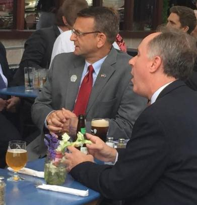 Rep. Robin Vos (R-Rochester) and Rep. John Macco (R-Ledge) drinking beer during the evacuation of the Capitol because of a