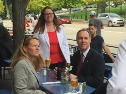 "Rep. Robin Vos (R-63) drinking beer during the evacuation of the Capitol because of a ""credible bomb threat."" Photo: Jason Huberty"
