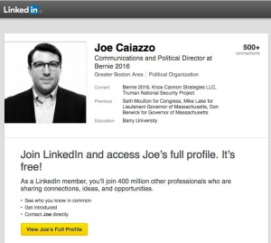 Joe Caiazzo, Bernie Sanders Communications Director, and employee of Clinton Foundation's Truman National Security Foundation.
