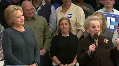 Albright campaigning for Hillary Clinton, February 2016.