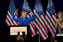 Democratic presidential candidate Hillary Clinton address the Democratic National Committee's summer meeting in Minneapolis on August 28, 2015.  (Pioneer Press: Jean Pieri)