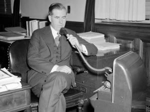 Henry Wallace dispenses with the services of a stenographer and instead uses a dictaphone when preparing his speeches. Photo: Harris & Ewing, 1937