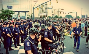 2012 DNC Convention, police stop a protest march on the Convention. Photo: Jenna Pope