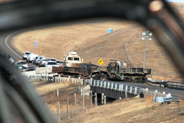 Bridge blockade on 1806 north of Oceti Sakowin Camp Photo credit: Leslie Amsterdam