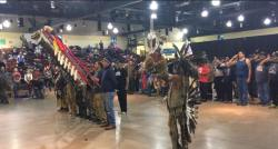 Pow wow at Standing Rock, honoring the veterans with a feather ceremony. December 6, 2016 Photo: Kellie Stewart
