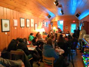 John Bolenbaugh speaking to a full house at the Black Cat Cafe in Ashland, January 9, 2017. Photo: David Joe Bates