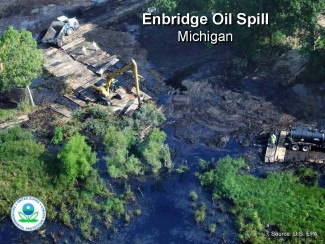 Kalamazoo oil spill. Photo: EPA