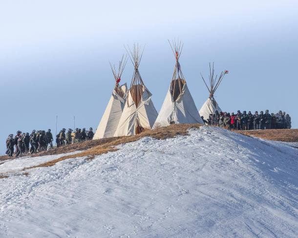 February 1, 2017 eviction of Last Child Camp. Photo courtesy of Redhawk, Standing Rock Rising.